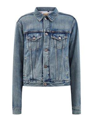 Джинсовая куртка с фирменным принтом на спинке POLO RALPH LAUREN. Цвет: голубой