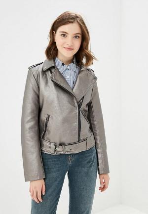 Куртка кожаная Colins Colin's. Цвет: серый
