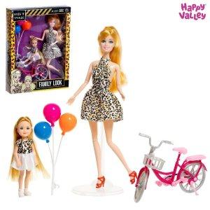 Кукла с дочкой family look на велосипеде, леопард Happy Valley