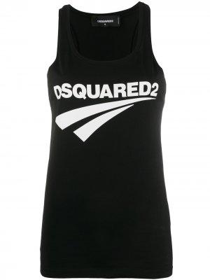 Топ без рукавов с логотипом Dsquared2. Цвет: черный