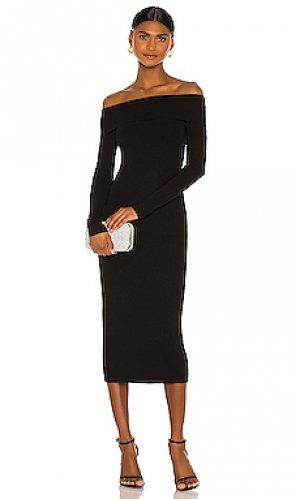 Платье миди knit Bardot. Цвет: черный