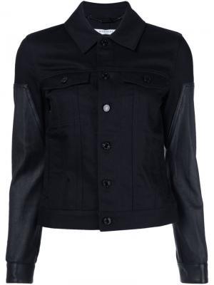 Джинсовая куртка с кожаными рукавами Givenchy. Цвет: чёрный