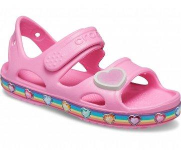 Сандалии для девочек CROCS Kids Fun Lab Rainbow Sandal Pink Lemonade арт. 206795. Цвет: pink lemonade