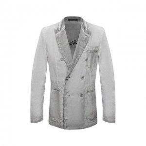 Пиджак из вискозы и льна Giorgio Armani. Цвет: серый