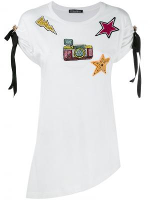 Футболка с нашивками Dolce & Gabbana. Цвет: белый