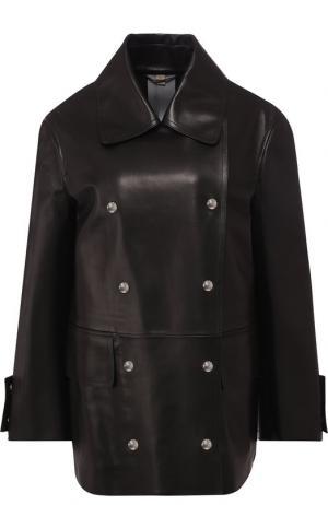 Двубортная кожаная куртка Burberry. Цвет: черный