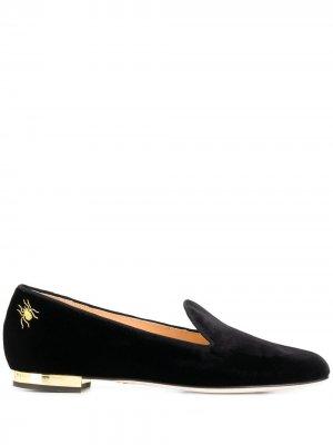 Балетки с вышивкой Charlotte Olympia. Цвет: черный