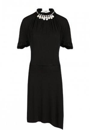 Платье-миди с кристаллами PACO RABANNE. Цвет: черный