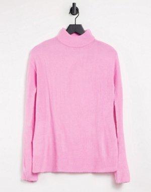 Вязаный топ с высоким воротником -Розовый цвет b.Young