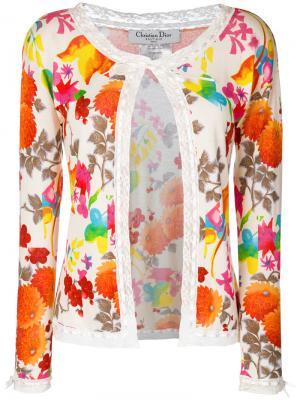 Кардиган с рисунком и кружевной окантовкой Christian Dior. Цвет: разноцветный