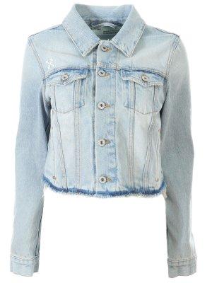 Куртка джинсовая укороченная Off-White. Цвет: разноцветный