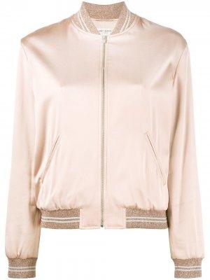 Куртка-бомбер с отделкой Love Saint Laurent. Цвет: розовый