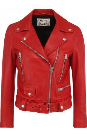 Однотонная кожаная куртка с косой молнией Acne Studios. Цвет: красный