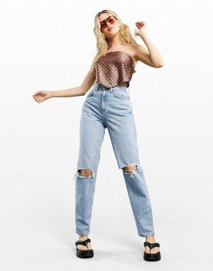Голубые выбеленные джинсы в винтажном стиле с завышенной талией и рваной отделкой -Голубой ASOS DESIGN