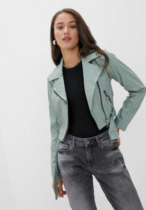 Куртка кожаная DeFacto. Цвет: зеленый