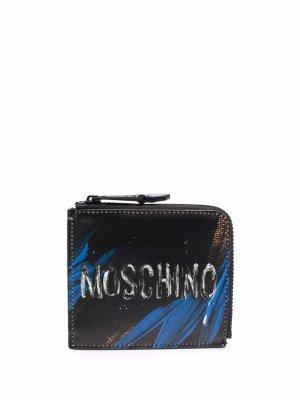 Кошелек с логотипом Moschino. Цвет: черный