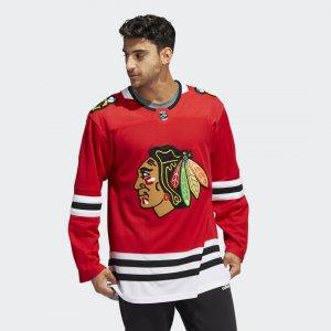 Оригинальный хоккейный свитер Blackhawks Home Performance adidas. Цвет: красный