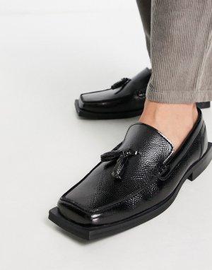 Черные лоферы из искусственной кожи с угловатым квадратным носком -Черный цвет ASOS DESIGN