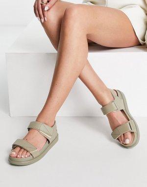 Шалфейно-зеленые кожаные сандалии на платформе в спортивном стиле Erin-Зеленый цвет Vagabond