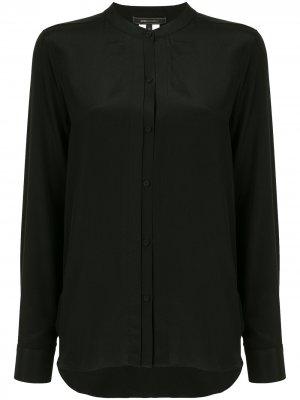Блузка без воротника с длинными рукавами BCBG Max Azria. Цвет: черный
