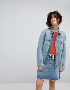 Джинсовая куртка унисекс в стиле 90-х HUGO. Цвет: синий