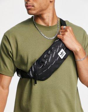 Черная сумка-кошелек на пояс со сплошным принтом монограммы -Черный цвет adidas Originals
