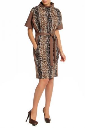 Платье Adzhedo. Цвет: темно-бежевый, принт змея