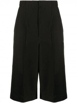 Ys длинные шорты с завышенной талией и открытыми швами Y's. Цвет: черный