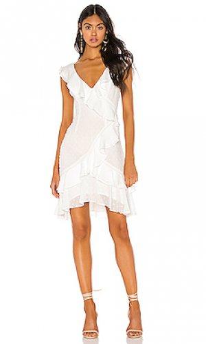 Мини платье ruffle Bardot. Цвет: белый