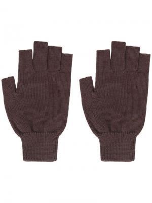 Перчатки без пальцев Rick Owens. Цвет: коричневый