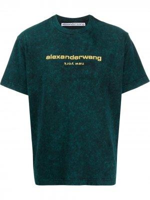 Logo embroidered T-shirt Alexander Wang. Цвет: зеленый