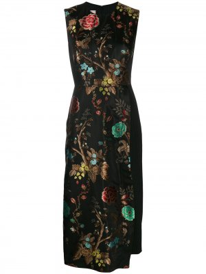 Многослойное платье с цветочным принтом Antonio Marras. Цвет: черный