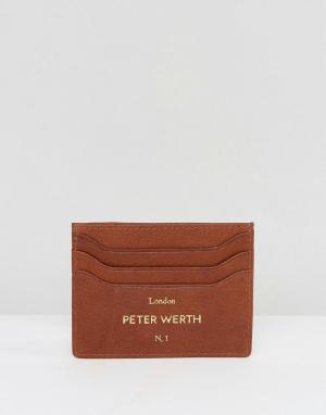 Светло-коричневая кредитница Peter Werth. Цвет: рыжий