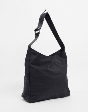 Черная большая сумка-тоут в спортивном стиле -Черный цвет ASOS DESIGN
