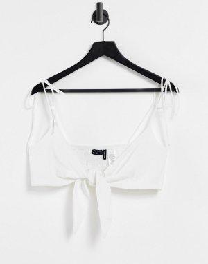 Пляжный фактурный кроп-топ белого цвета с завязкой спереди из коллекции Fuller Bust -Белый ASOS DESIGN