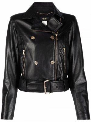 Двубортная байкерская куртка LIU JO. Цвет: черный