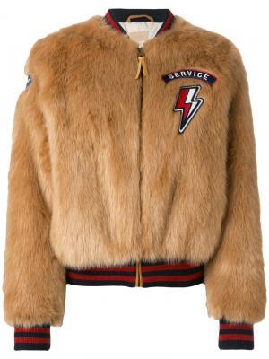 Куртка-бомбер Fun Mother. Цвет: коричневый
