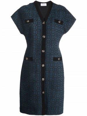 Жаккардовое платье с V-образным вырезом Salvatore Ferragamo. Цвет: синий