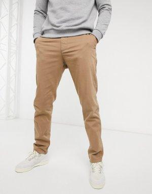 Светло-коричневые эластичные брюки чиносы из органического хлопка -Коричневый Knowledge Cotton Apparel