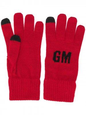 Вязаные перчатки с логотипом MSGM. Цвет: красный