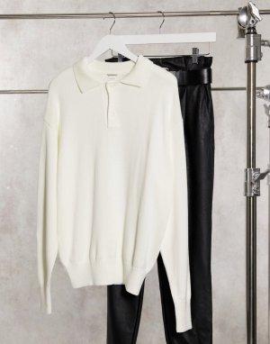 Кремовый джемпер-поло в стиле oversized с воротником на пуговицах -Белый Glamorous