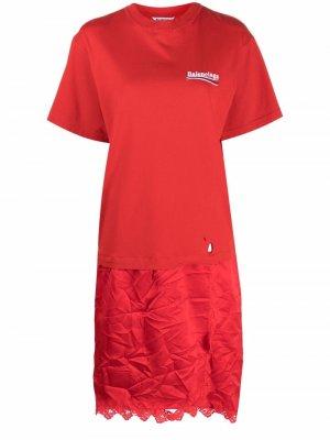 Платье-футболка с логотипом Balenciaga. Цвет: красный