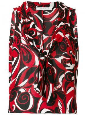 Блузка без рукавов с абстрактным принтом Miu Pre-Owned. Цвет: красный