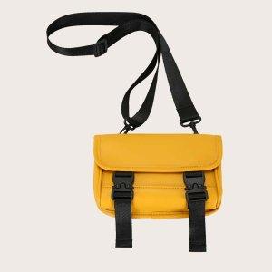 Детская сумка через плечо с пряжкой SHEIN. Цвет: жёлтые