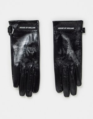 Черные кожаные блестящие перчатки -Черный цвет House of Holland