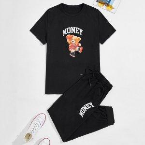 Мужской буква и с принтом медведя Футболка & на кулиске Спортивные брюки SHEIN. Цвет: чёрный