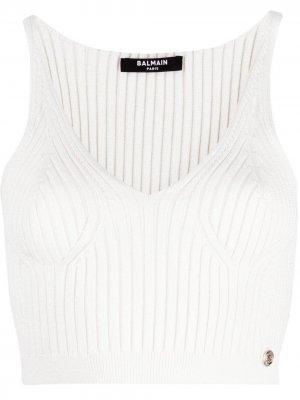 V-neck knitted crop top Balmain. Цвет: белый