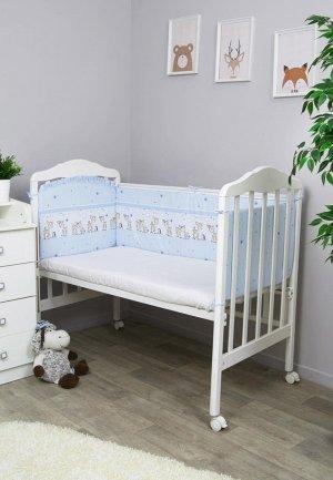 Бортик для детской кровати Сонный Гномик Оленята. Цвет: голубой