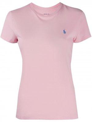 Футболка с круглым вырезом и вышитым логотипом Polo Ralph Lauren. Цвет: розовый