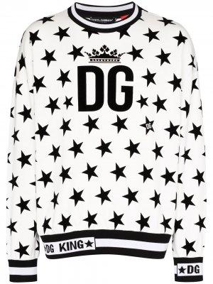 Свитер с принтом и логотипом Dolce & Gabbana. Цвет: белый
